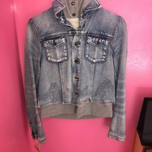 Free people frayed Jean jacket with Hood